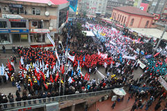 10,000 METAL WORKERS STAGED A DEMONSTRATIM IN ZONGULDAK. Royalty Free Stock Photo