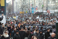 10.000 protestataires ont marché pour Hrant Dink. Image stock