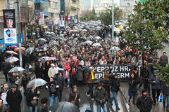 10,000 PROTESTERS WALKED UNDER RAÄ°N FOR HRANT DINK. Stock Photo