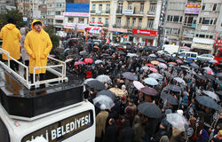 10,000 PROTESTERS WALKED UNDER RAİN FOR HRANT DINK. Royalty Free Stock Photos