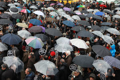 10,000 PROTESTERS WALKED UNDER RAİN FOR HRANT DINK. Stock Photos
