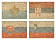 10/13 Flags of European countries. Vintage collection of european country flags isolated on white background. San Marino, Serbia, Slovakia, Slovenia vector illustration