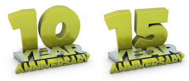 10 and 15 year anniversary. Nice renders of 10 and 15 anniversary Royalty Free Stock Images