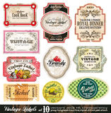 10收集标号组葡萄酒 免版税图库摄影