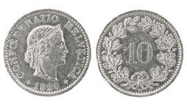 10 1990 confoederatio helvetica rappen Стоковое Изображение RF