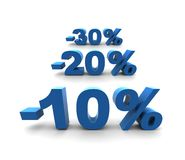 10-20-30% - isolated illustration. 10-20-30% - isolated 3D render illustration Royalty Free Stock Photography