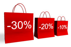 10, 20, and 30 Percent Off Shopping Bags. Rendered shopping bags indicating 10, 20, and 30 percent off Royalty Free Stock Image