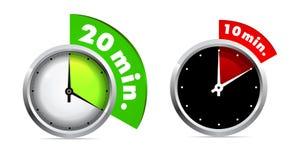 10 20 minuta zegar Zdjęcie Stock