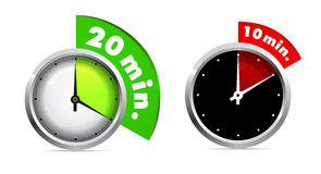 10 and 20 minutes timer. Set of 10 and 20 minutes timer illustration Stock Photo