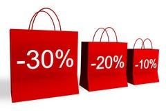 10, 20 und 30 Prozent weg von den Einkaufen-Beuteln Lizenzfreies Stockbild