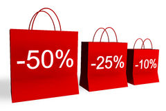 10, 25 und 50 Prozent weg von den Einkaufen-Beuteln Lizenzfreies Stockfoto