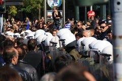 10 28 2011年雅典希腊游行拒付 免版税库存照片