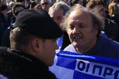 10 28 2011 athens greece ståtar protester Arkivfoto
