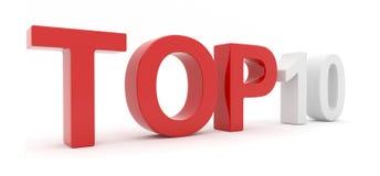 10 3d odizolowywali teksta ratingowego wierzchołek Zdjęcia Stock