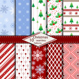 套10圣诞快乐无缝的样式背景 图库摄影