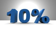 10%. Sign - 3d render illustration Stock Photography