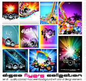 10 Abstract Music Background. For Discoteque Flyer with a lot of desgin elementes - Set 3 Royalty Free Stock Image