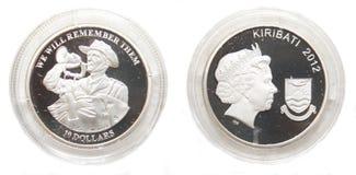 10 Australien myntdollar kiribati silver Arkivbild