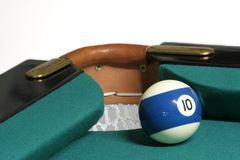 10 ball corner pocket. Pool ball number 09 in pool table near corner pocket stock photo