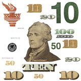10 $ banknote, photo dollar bill elements. Isolated on white background Stock Images