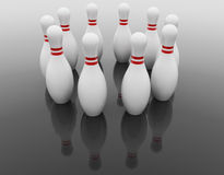 10 Bowlingspielstifte Stockbild