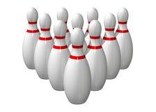 10 Bowlingspielstifte ausgerichtet Stockfoto
