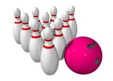 10 Bowlingspielstifte mit einer Bowlingspielkugel Stockfoto