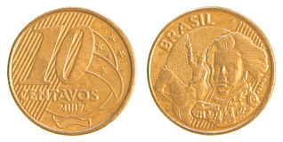 10 Brazilian real centavos coin. Isolated on white background
