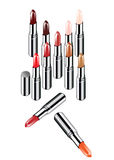 10 color vector Lipsticks. On white background Royalty Free Stock Photos
