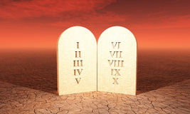 10 Commandments on stone tablet. Roman letters on stone tablet in the desert royalty free illustration