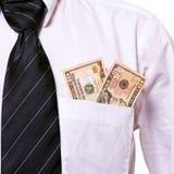 10 dólares em um bolso Fotografia de Stock Royalty Free