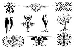 10 decorative ornaments of tattoos. Set in black. Ten decorative ornaments of tattoos. Set in black stock illustration