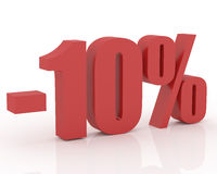 10% discount. 3D signs showing 10% discount and clearance Stock Photography