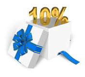 10% discount concept. Shiny golden 10% in white gift box with blue ribbon isolated over white background Stock Images
