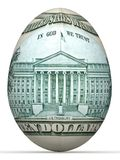 10 dollar back side banknote in shape of egg. Royalty Free Stock Photos