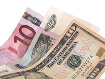 10 Dollar, Rubel, Eurobanknoten Stockfotos