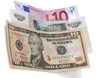 10 Dollar, Rubel, Eurobanknoten Lizenzfreie Stockfotografie