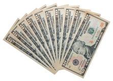 10 Dollarbanknoten getrennt über Weiß Stockfotografie