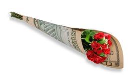 10 Dollarschein-Blumenblumenstrauß Stockbild