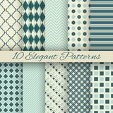 10 Elegant Vector Seamless Patterns (tiling) Royalty Free Stock Photography