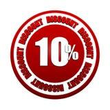 10 escritura de la etiqueta roja del círculo del descuento 3d de los porcentajes Imágenes de archivo libres de regalías