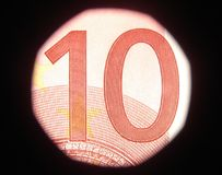 10 euro. Banknote detail - micro print stock images