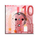 10 Euro banknote. Closeup of 10 Euro banknote isolated on white background Stock Photos