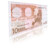 10 Euro banknote with reflection. Close-up of 10 Euro banknote with reflection against white Stock Photography
