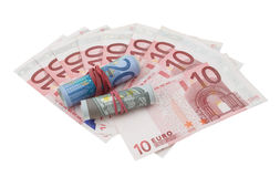 10 Euro Banknotes, 5 And 20 Euro Banknotes Rolled Royalty Free Stock Images
