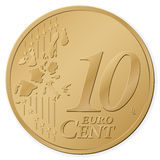 10 euro cent. Isolated on a white background. Vector illustration Royalty Free Stock Photography