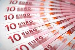 10 euro nota's Stock Afbeeldingen