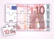 10 Euro Note Puzzle - Top View Royalty Free Stock Photography