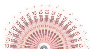 10 Euro Notes Half Circle Template Stock Photo