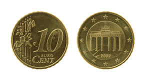 10 Eurocents Münze Lizenzfreie Stockfotos